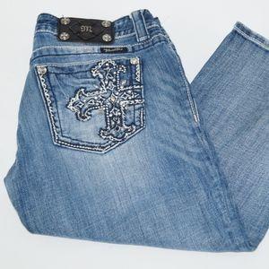 Miss Me Women Denim Cross Blue Capri Jeans Size 30